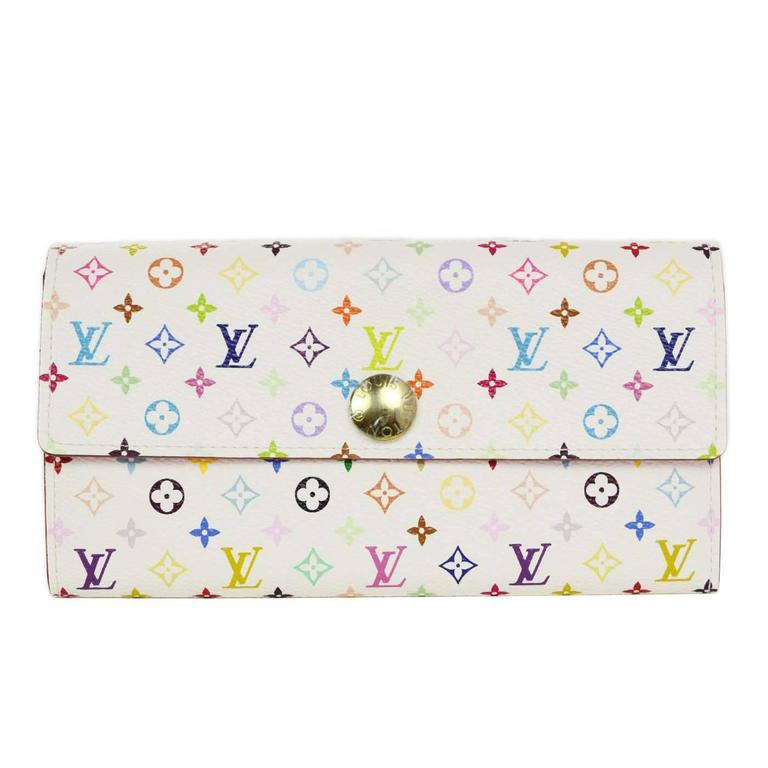 Louis Vuitton White Multicolore Sarah Snap Wallet Ghw For