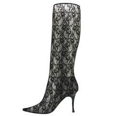 New Casadei Black Lace Twist Heel Boots 9