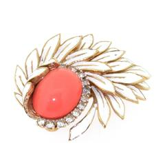 Vintage White and Coral Glass brooch by Jomaz