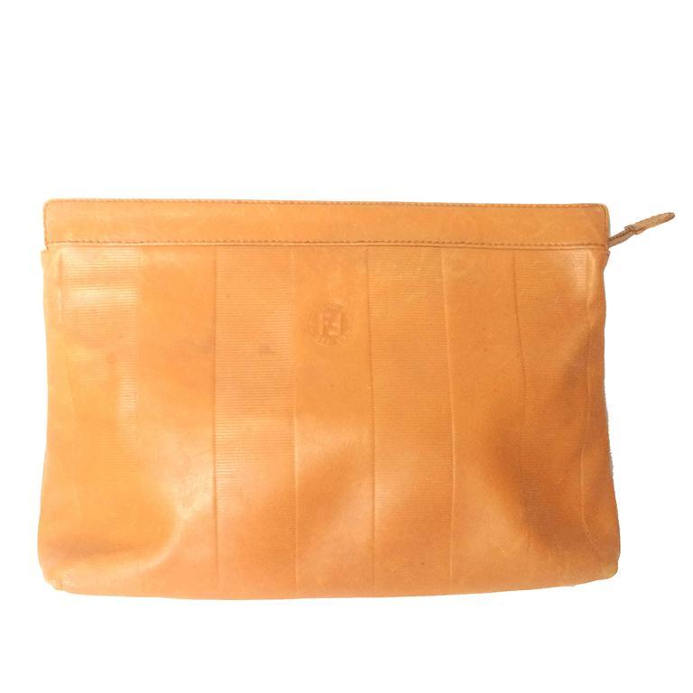 Vintage Fendi orange brown genuine leather mini document bag, clutch purse.