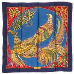 Salvadore Ferragamo Silk Twill Peacock Scarf