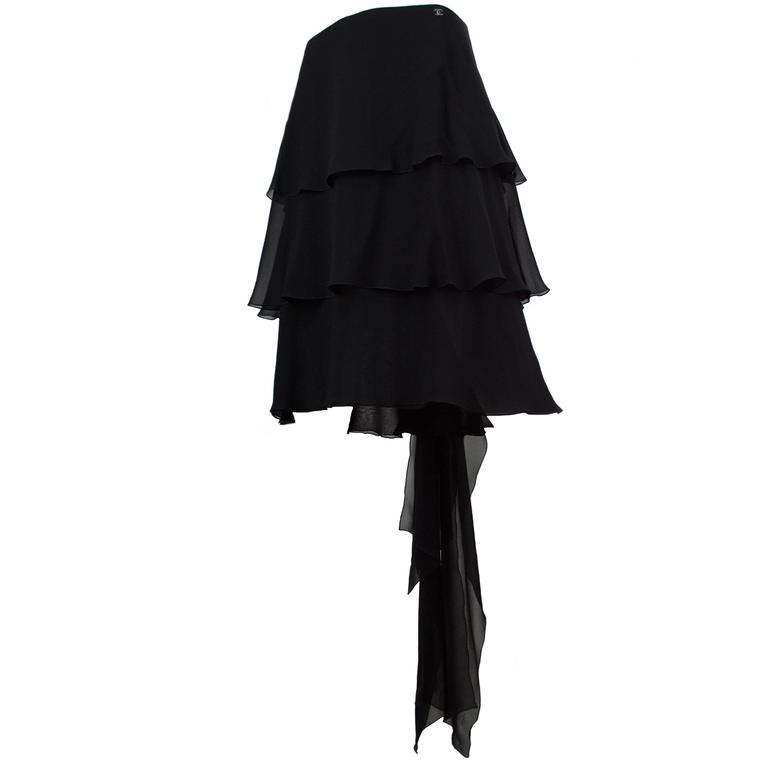 Chanel Black Chiffon Ruffle Train Skirt 38