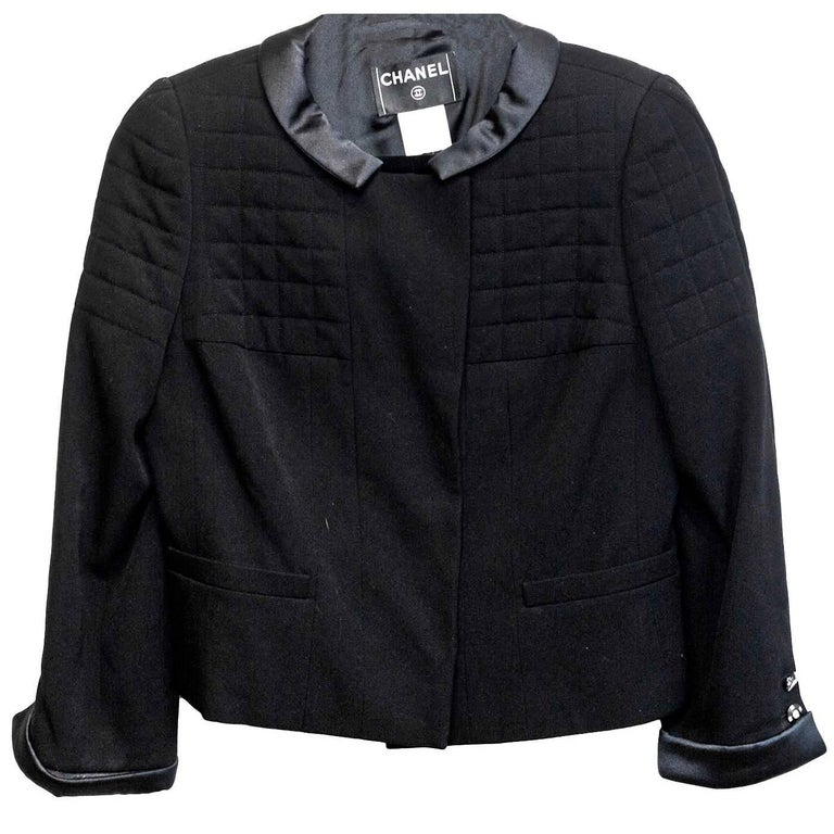 Chanel Black Wool Jacket with Sateen Trim Sz 44 For Sale