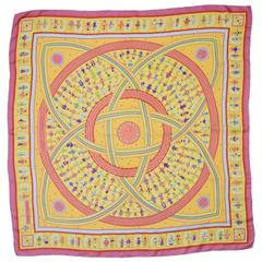 "Hermes Yellow, Pink and Orange ""Donner La Main"" Silk 90cm Scarf"