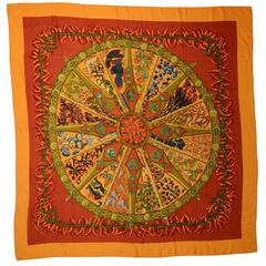 Hermes Red and Orange Cashmere/Silk Chile Pepper 140cm Scarf