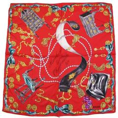 """1990's Moschino """"Moschino Loves Chippendale Too"""" Print Silk Scarf"""