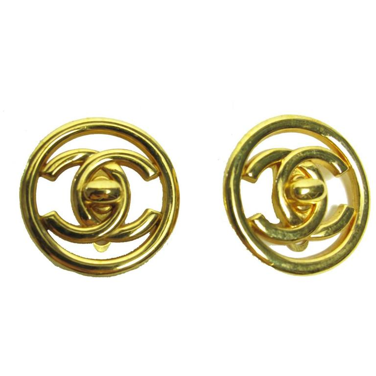 1997 chanel interlocking quot cc quot turnlock earrings at 1stdibs
