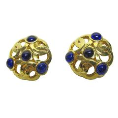 Late 80s / Early 90s Chanel Interlocking Circles Blue Gripoix Stones Earrings