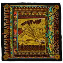 Hermes Multicolor 'La Femme aux Semelles de Vent' Silk 90cm Scarf