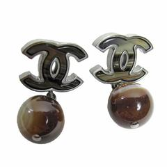"""Chanel """"CC"""" Inlaid Brown Agate and Hanging Ball Drop Earrings"""