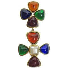 Chanel Large Gripoix Poured Glass Cross Brooch