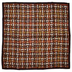 Hermes Brown Ribbon Print 'Bolduc au Carre' Silk 90cm Scarf