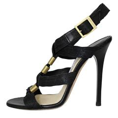 Jimmy Choo London Black and Gold High Sandal