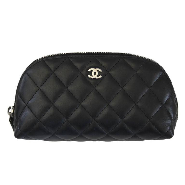 Chanel Lambskin Black Quilted SHW Small MakeUp Case No. 16 ...