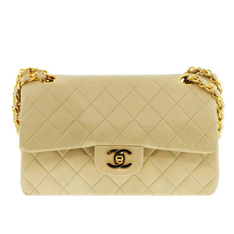 CHANEL Beige Double Flap Lambskin GHW Shoulder Bag 1