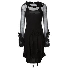 Rare Chanel Black Crochet  Dress