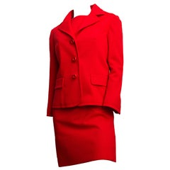 60s Lilli Ann Red Knit 3 Piece Suit
