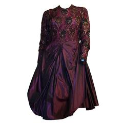 80s Galanos Purple Lace Cocktail Dress