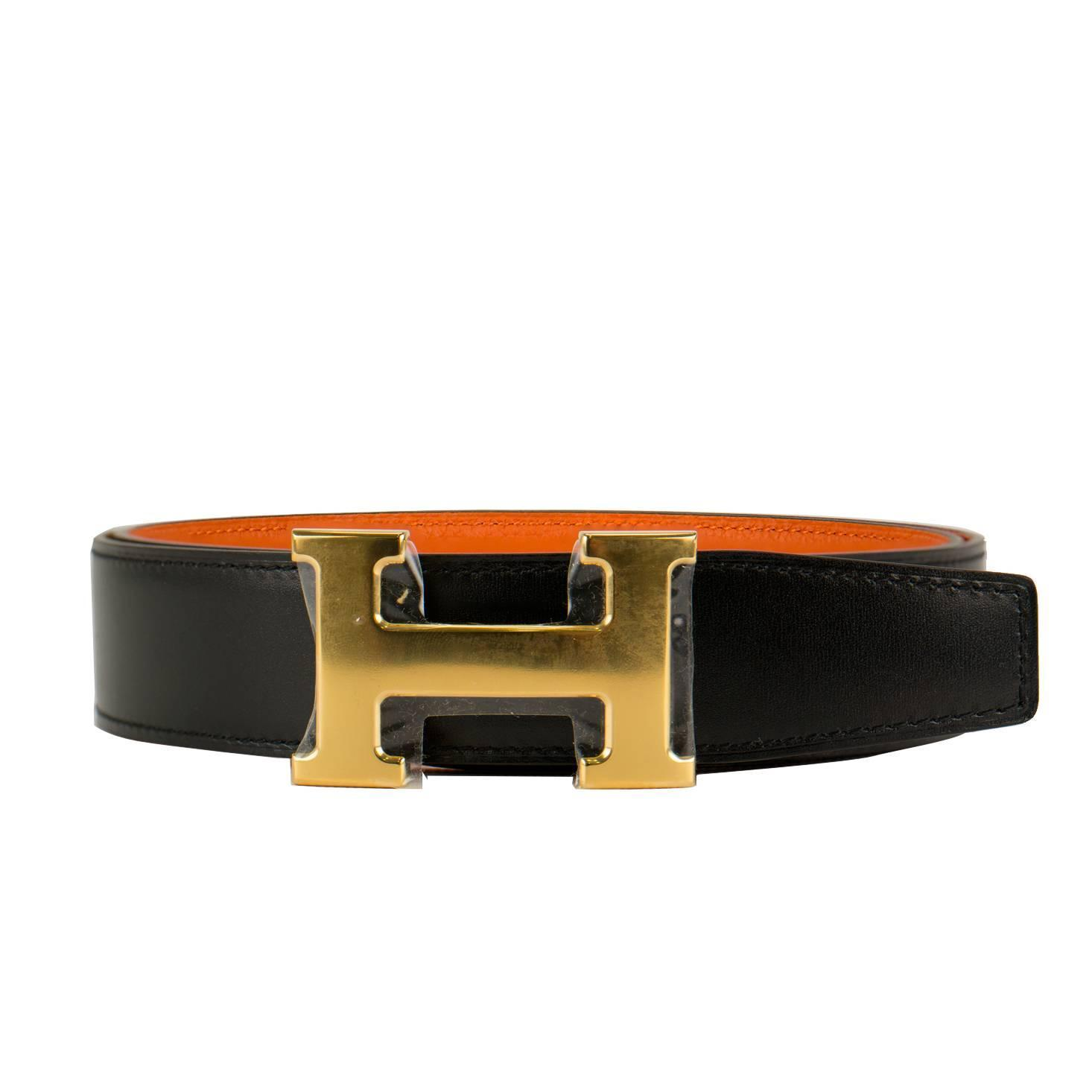 hermes belt h 32mm box togo noir orange size 85 boucle gold 2016 at 1stdibs. Black Bedroom Furniture Sets. Home Design Ideas