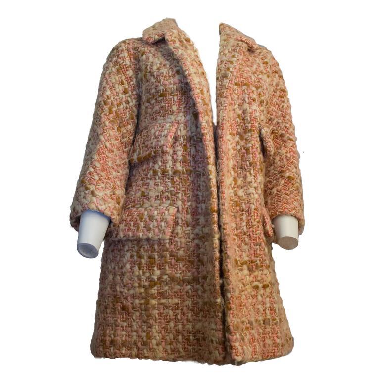 60s Lilli Ann Knit Tweed Pink and Tan Jacket
