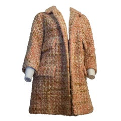 60s Lilli Ann Knit Tweed Pink and Tan Coat