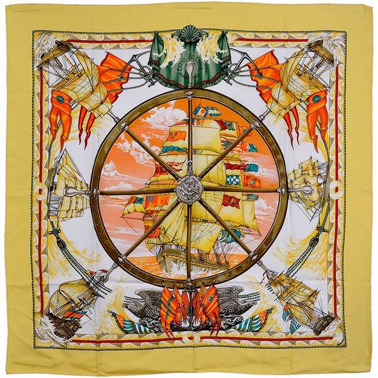 "Hermes Silk ""Vive le Vent"" Scarf For Sale"
