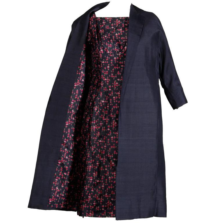 1960s Vintage Floral Print Silk Sheath Dress + Coat 2-Piece Ensemble