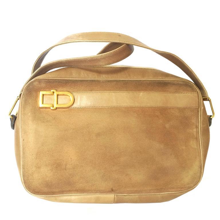 Dior Vintage Christian Dior Brown Beige Suede Shoulder Bag With Golden Cd Motif yau36oUXV