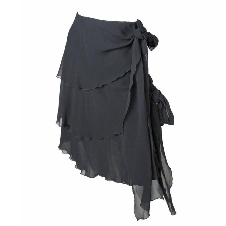 Chanel Silk Chiffon Ruffle Skirt with Ties