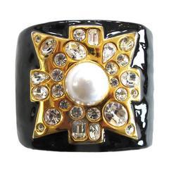 Kenneth Jay Lane Black and Gold Maltese Cross Cuff Bracelet