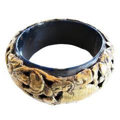 New Masha Archer Black and Brass Animal Bangle