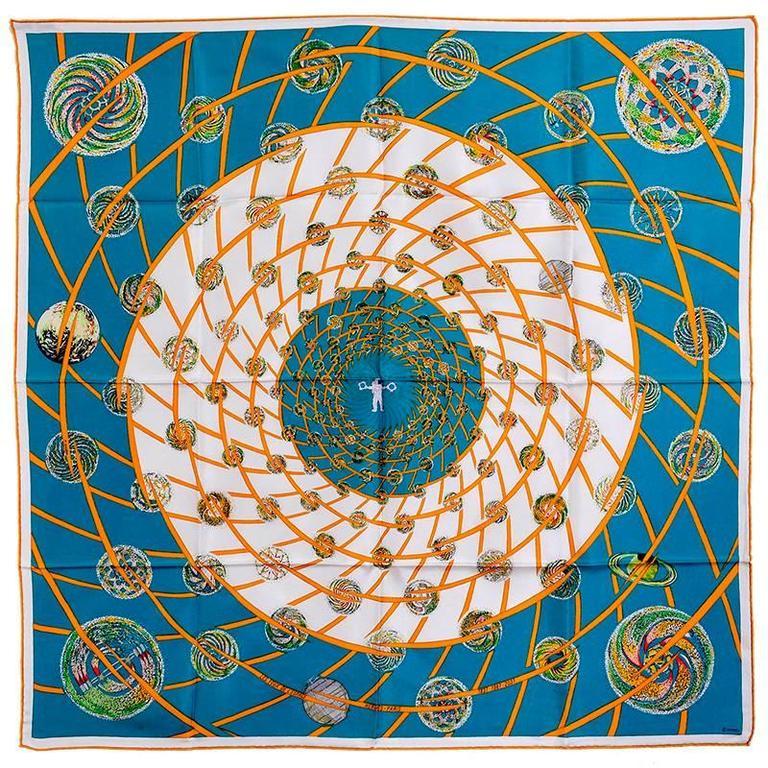 Gorgeous Hermes Les Feux De L'Espace Silk Scarf For Sale