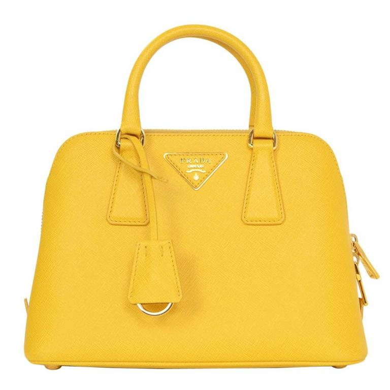Prada Yellow Mini Promenade Saffiano Bag with GHW and Dust bag 1