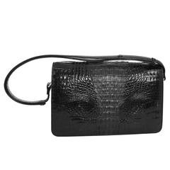 1980s Jet Black Convertible Hornback Alligator Purse