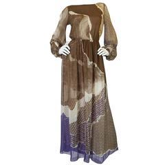 Ethereal 1970s Silk Chiffon Print Hanae Mori Dress