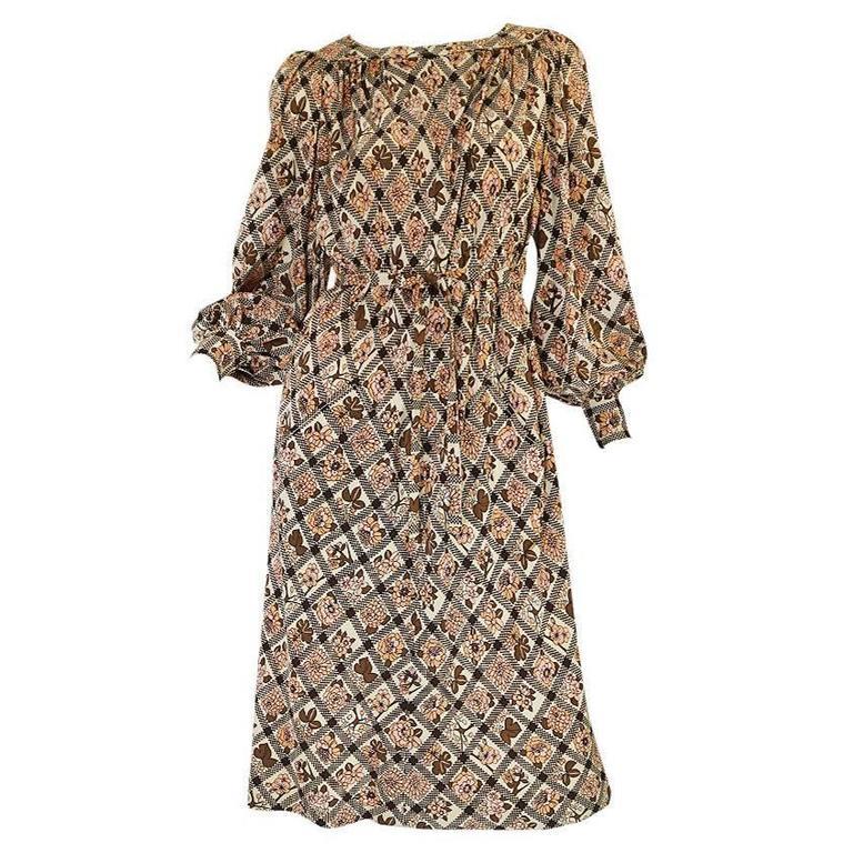 c.1974 Emmanuelle Ungaro Haute Couture Silk Print Dress