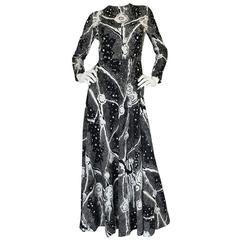 1960s Donald Brooks Rhinestone Scattered Jersey Dress