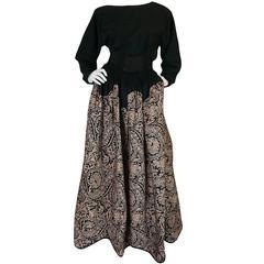 1980s Geoffrey Beene Full Scalloped Skirt & Top Set