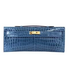 HERMES Kelly Cut Clutch Bag Blue Colvert Crocodile Gold Hardware