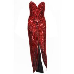 Bob Mackie Red Fully Beaded Dress Gown