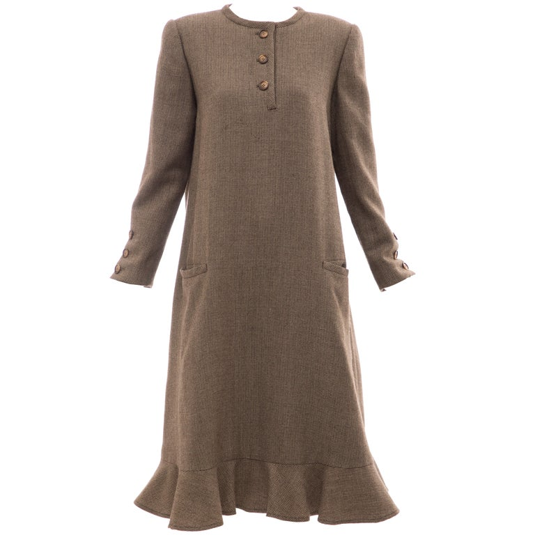 Bill Blass Brown Wool Tweed A Line Button Front Dress, Circa: 1970's For Sale