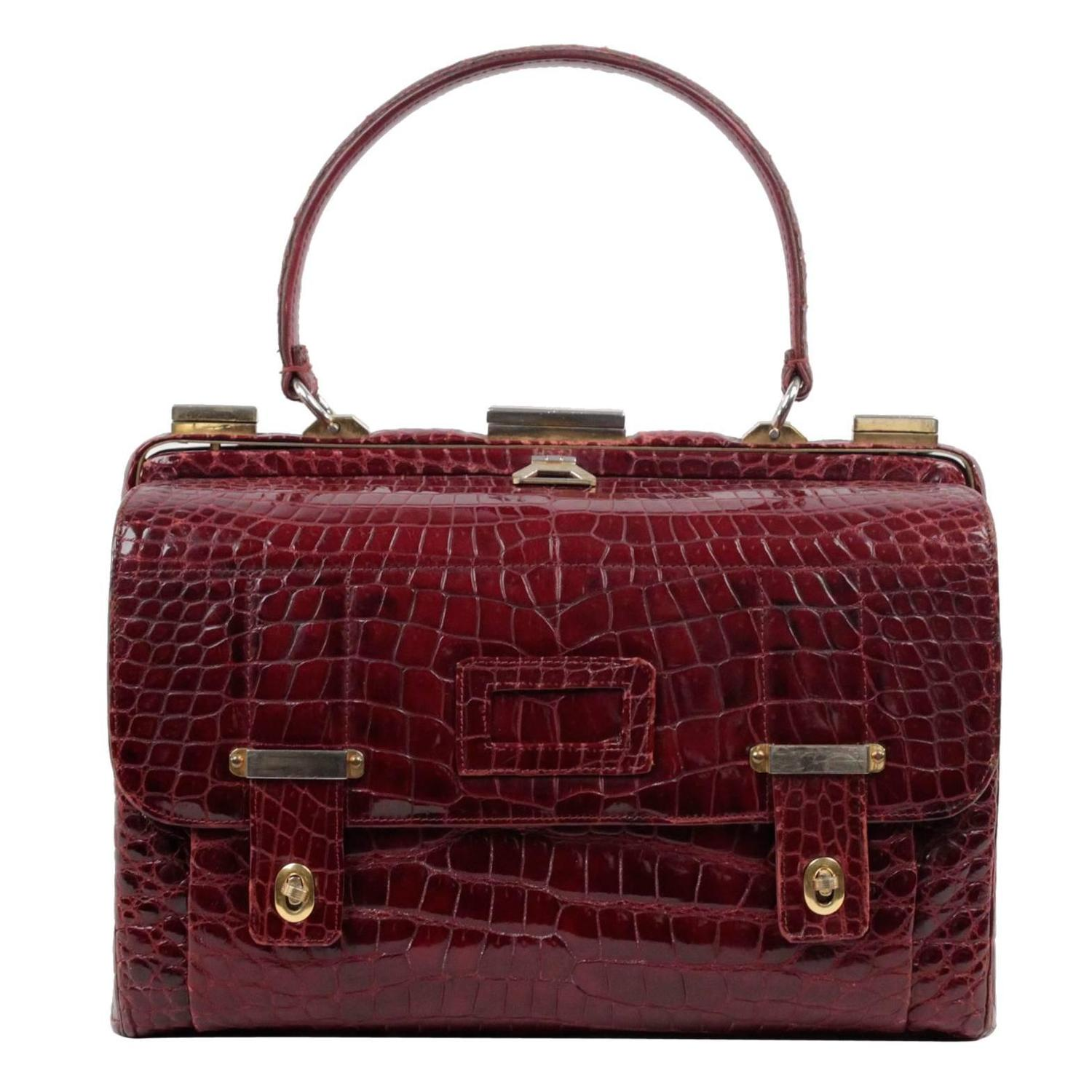 Vintage Burgundy Crocodile Leather Doctor Bag Top Handle Handbag For At 1stdibs
