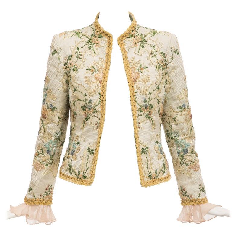 Oscar de la Renta Lesage Embroidered Evening Jacket, Circa: 1990's For Sale