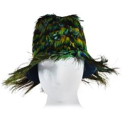 Prada NIB SS05 Runway Green Blue & Orange Peacock Feather Fedora Hat SZ M