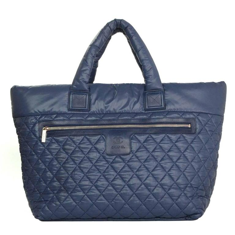 Chanel Blue Nylon Quilted Xl Cocoon Tote Bag For Sale At