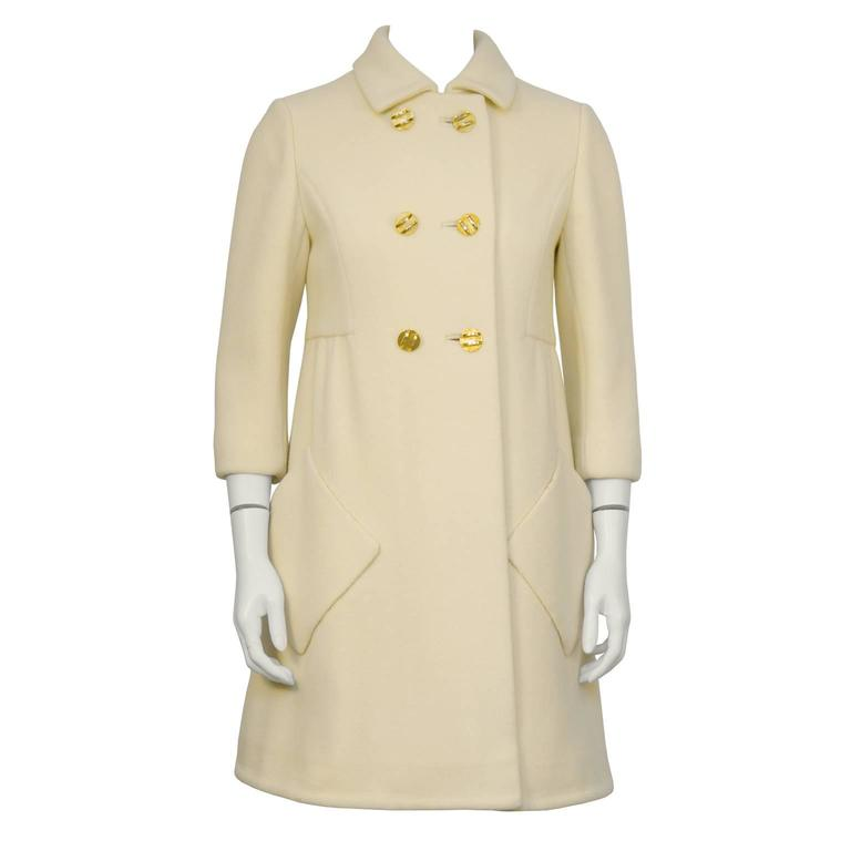 1960's Cream Wool Mod Coat with Gold Buttons