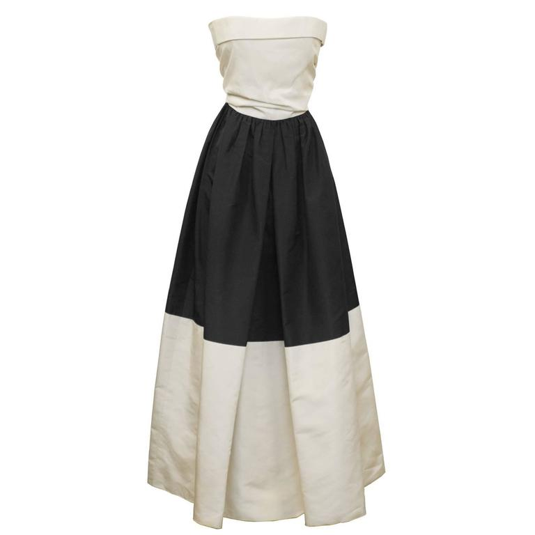 Pauline Trigere Early 1960's Black and Cream Silk Taffeta Strapless Gown
