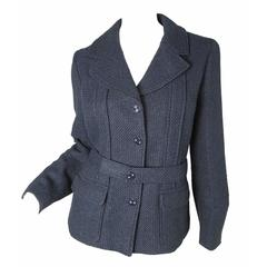 Chanel Navy Jacket with Fabric Woven to Sparkle