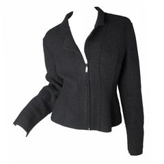 Chanel Black Jacket with Heavy Boiled Wool