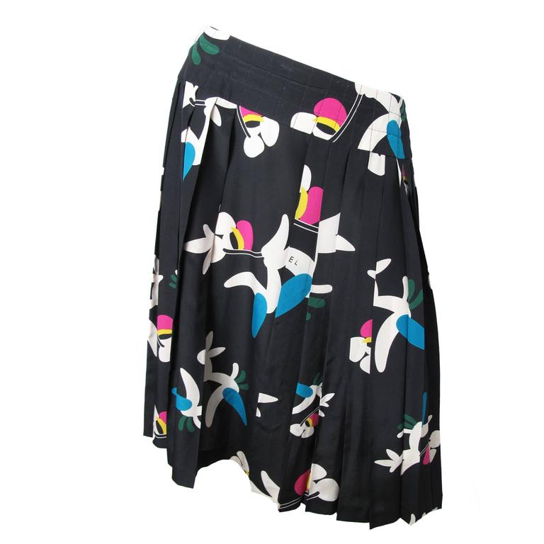Chanel Silk Pleated Printed Skirt  For Sale